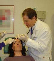Botox being injected for frown lines.