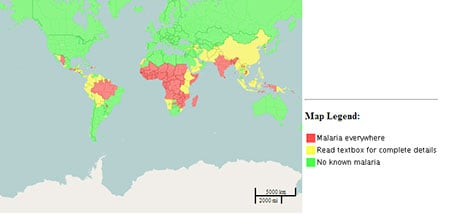 Picture of map showing where malaria is widespread (red), present in selected areas (yellow) or not present (green)