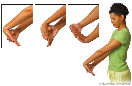 Picture of stretches to ease wrist and arm aches and fatigue