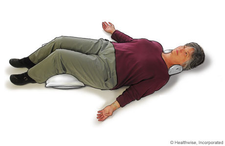 Picture of relax and rest position to ease back aches and fatigue
