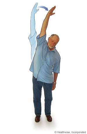 Picture of standing side stretch to ease back aches and fatigue