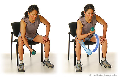 Picture of the bicep curls exercise