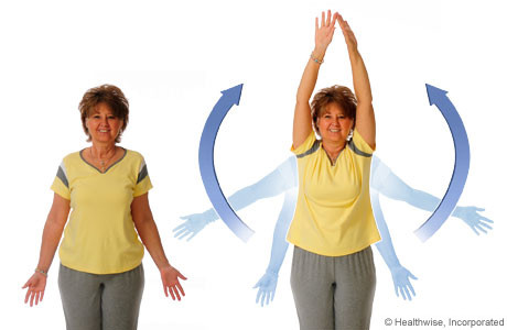 Picture of how to do the shoulder-blade-stretch exercise