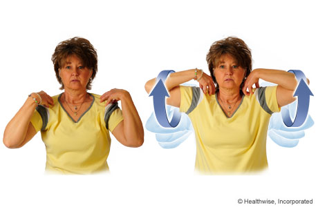 Picture of how to do the elbow-circles exercise