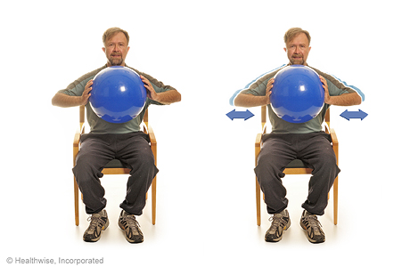 Chest squeeze with a ball
