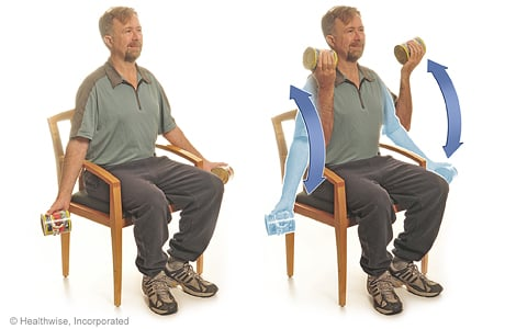 Seated exercise: Arm curls with soup cans