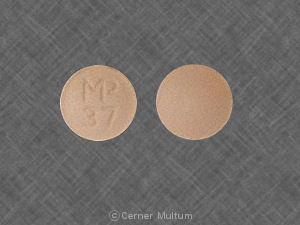 What medicine comes in a round orange tablet and says DAN 5553