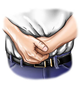Picture of choking rescue procedure (Heimlich maneuver) fist position