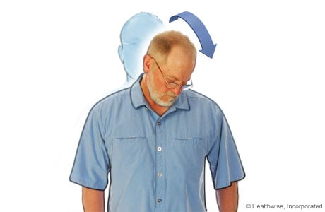 Picture of diagonal neck stretch to ease neck aches and fatigue