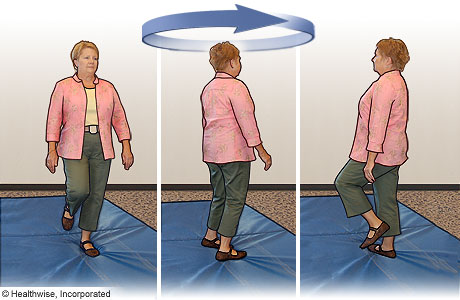Picture of turning-in-place exercise to improve balance