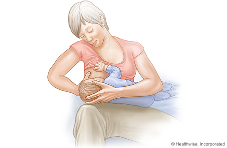 Picture of the cross-cradle hold for breast-feeding