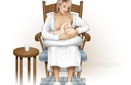Picture of how to position the baby for breast-feeding