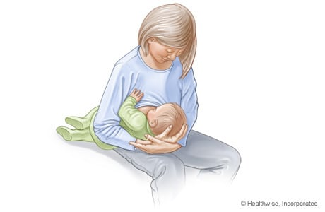 Picture of the football hold for breast-feeding