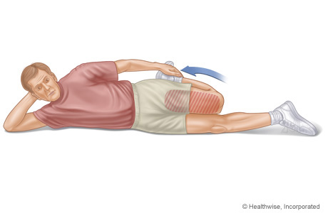 Picture of a person doing a quadriceps stretch