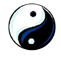 The traditional symbol of Yin and Yang, symbolizing the dual, polar nature of the universe.
