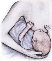 Clutch breastfeeding. This position is good to try if your baby has trouble latching on to your breast.