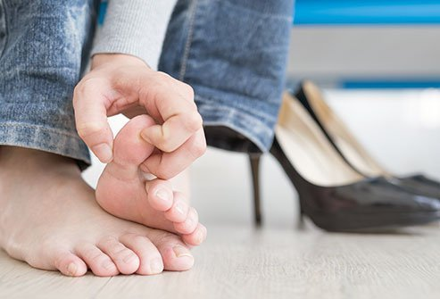 Athlete's foot symptoms include itching, sores between toes, and painful lesions.