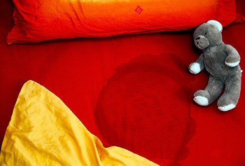 Picture of a teddy  bear laying on a wet bed.