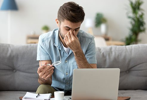 Staring at a computer screen can cause eye strain.