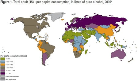Total adult (15+) per capita consumption, in litres of pure alcohol, 2005(a)