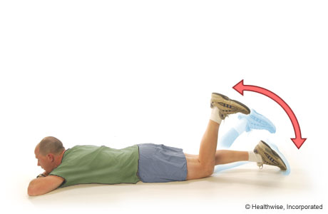 A man doing the active-knee-flexion exercise