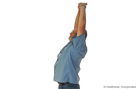 Upper back and shoulder stretch for ankylosing spondylitis