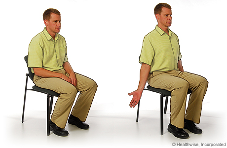 Picture of shoulder and chest stretch to ease shoulder aches and fatigue