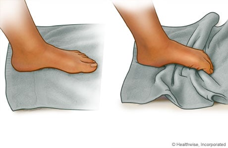 Picture of the towel-curl exercise for the foot