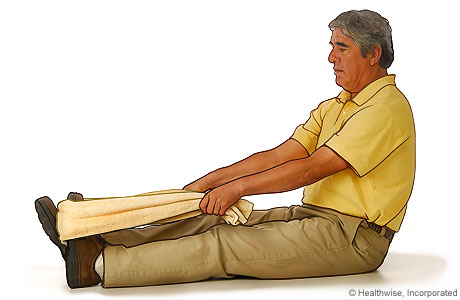 Picture of using a towel to stretch the plantar fascia (foot ligament)