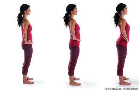 Picture of how to do the standing pelvic rock exercise