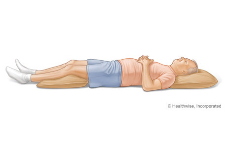 Picture of sleeping position that protects the back (on your back)