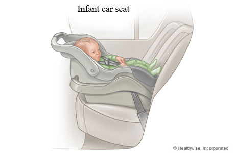 Baby in a rear-facing infant-only car seat