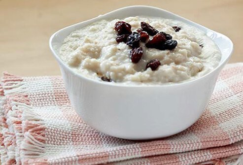 Photo of fresh oatmeal with raisins.