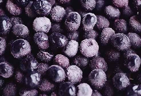 Photo of frozen blueberries.