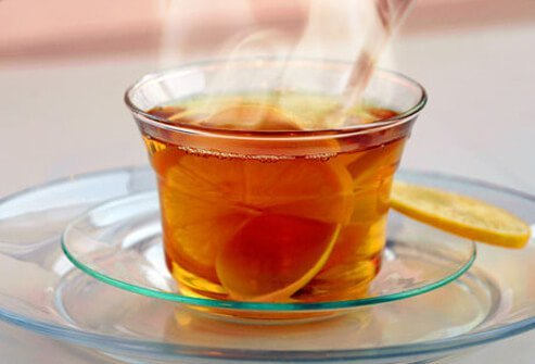 Photo of hot tea with lemon