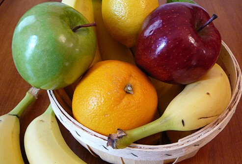 A fruit bowl in the kitchen gives easy access to healthy snacks.