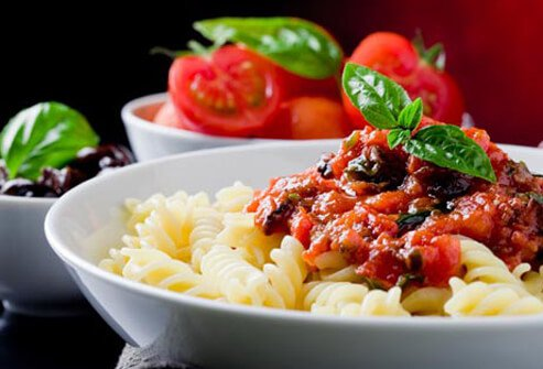 Photo of pasta and tomato sauce.
