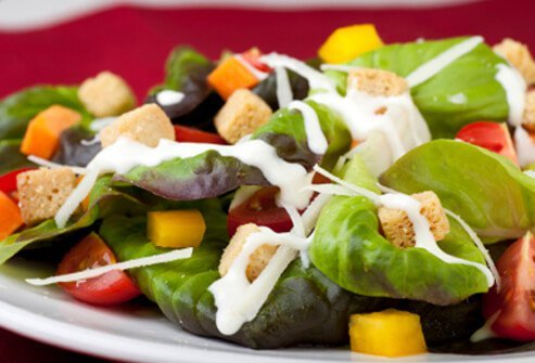 Creamy salad dressings pack on the calories and fat.