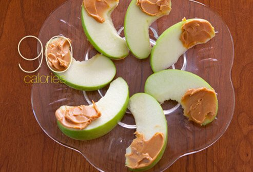 Apple slices with peanut butter.