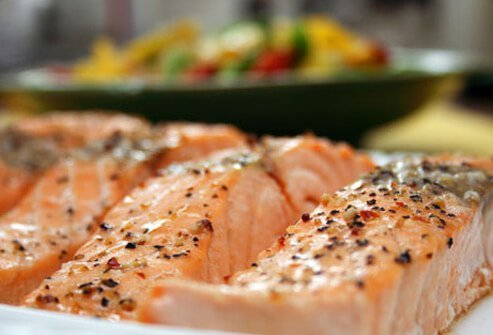 Plate of salmon.