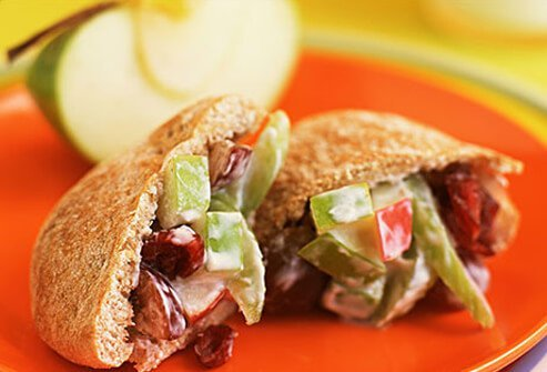 Photo of a grape and apple sandwich in a wholegrain pita.