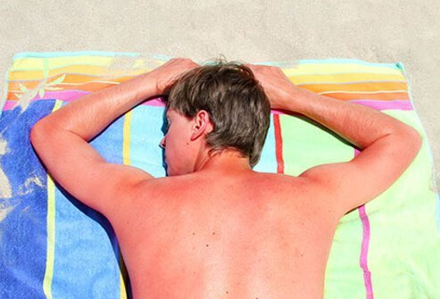 Spending too much time outdoors may lead to sun damaged skin, including actinic skin damage.