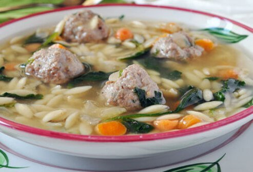 Photo of Italian wedding soup.