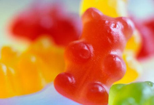 A close-up of gummy bear candy.