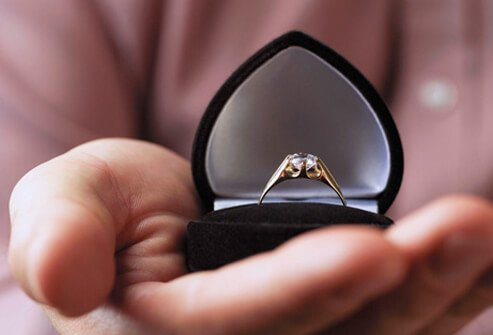A man holding an engagement ring.