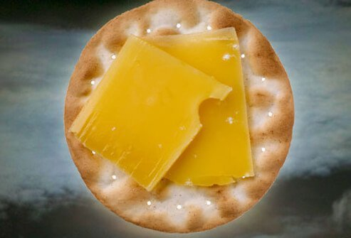 Cheese and crackers is a good nighttime snack.