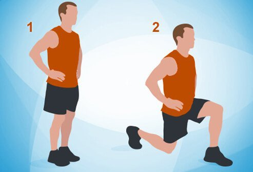 An illustration of doing lunges.