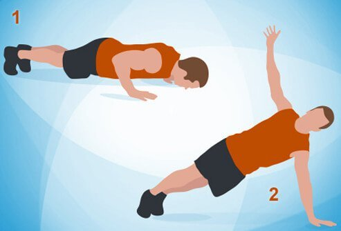 An illustration of a push-up and rotation exercise.