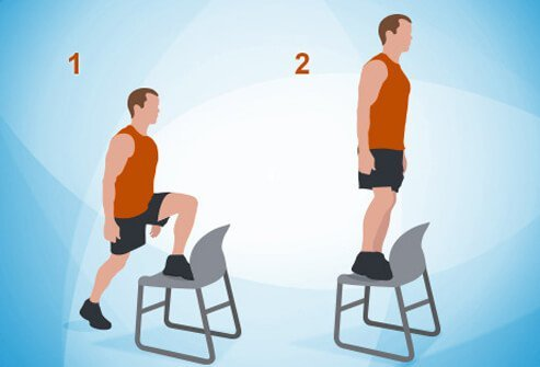 Stand facing a sturdy chair or bench.
