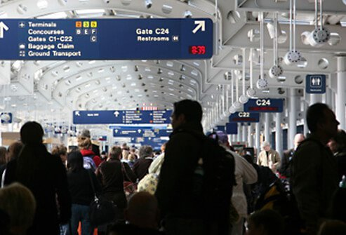 Crowded airport during holiday travel.